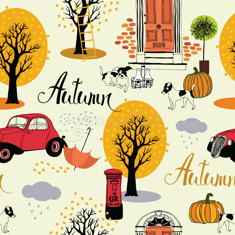 Dogs, vintage cars, pumpkins and autumn trees stock illustration