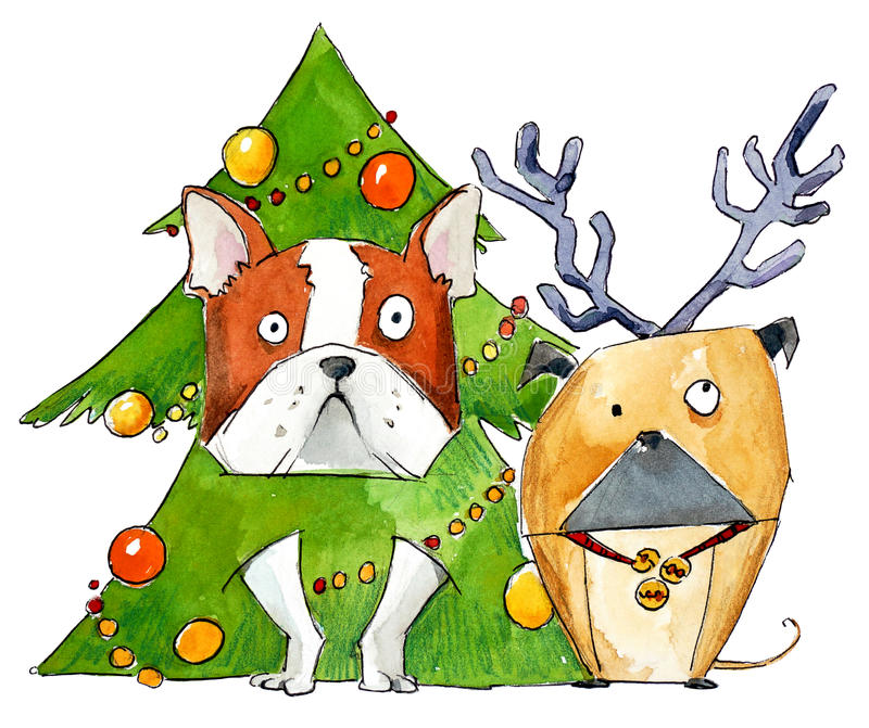 Dogs wearing silly Christmas and New Year costumes. Watercolor painting stock illustration