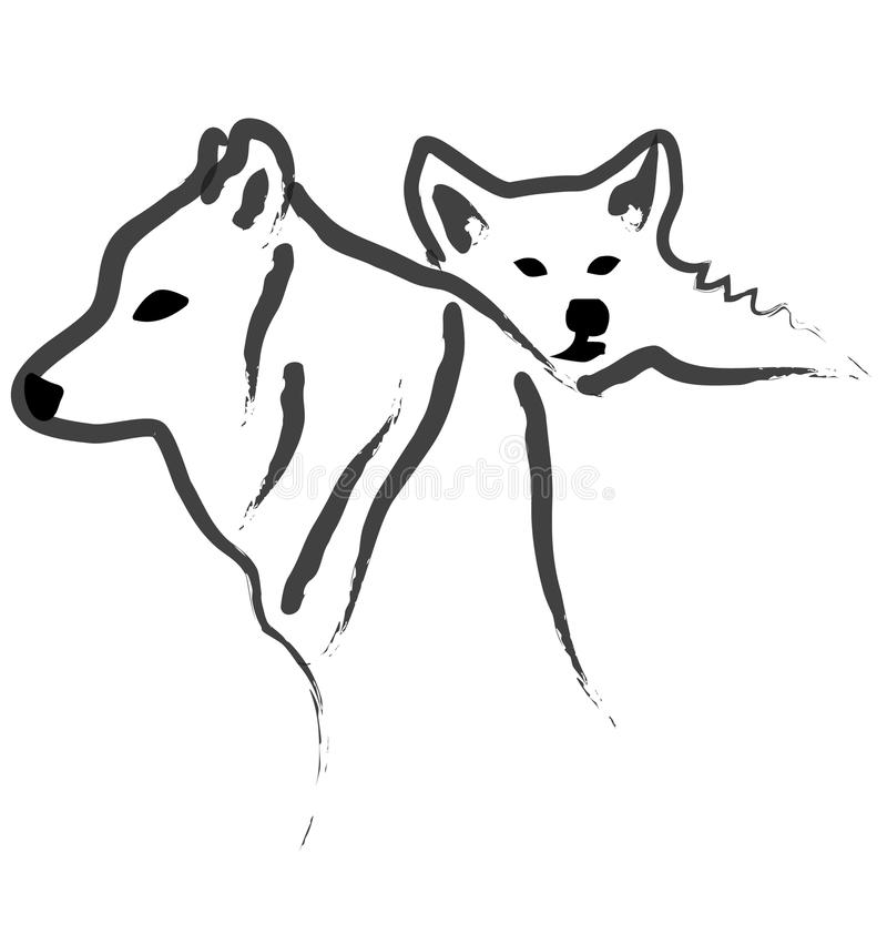 Dogs or Wolfs logo silhouettes royalty free illustration