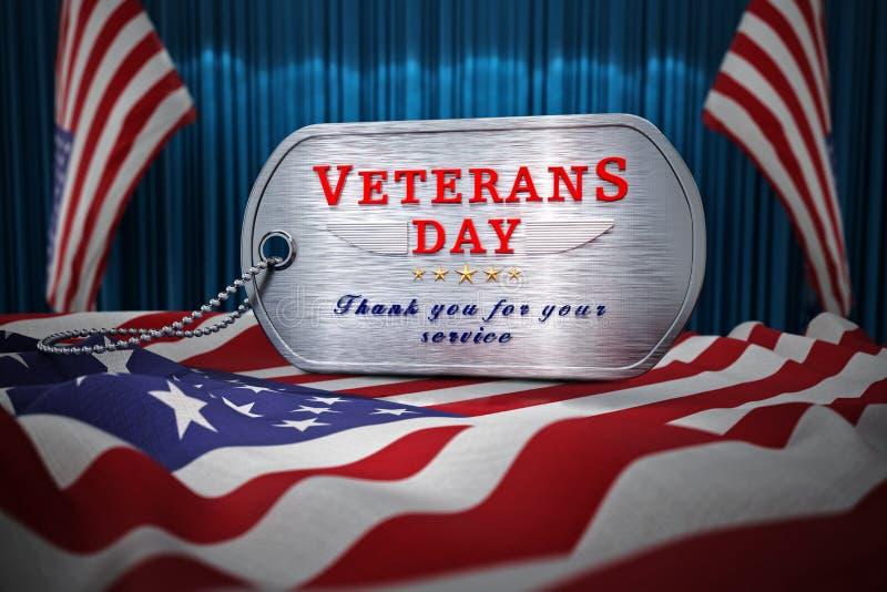 Dogtag del día de veteranos que se coloca en bandera americana ilustración 3D stock de ilustración