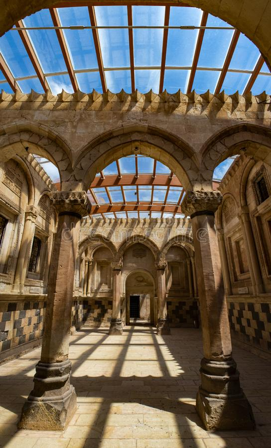 Dogubayazit, Turkey, Middle East, Ishak Pasha Palace, ceremony, hall, interiors, decorations, old, ancient, ruined, old ruins stock photo