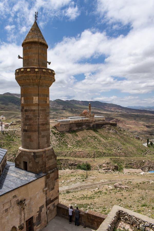 Dogubayazit, Turkey, Middle East, Ishak Pasha Palace, aerial view, mosque, Eski Bayezid Cami, valley, landscape, mountain stock photography
