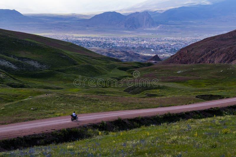 Green landscape, breathtaking, Dogubayazit, Turkey, Middle East, mountain, Iranian border, driving, winding road. Dogubayazit, Turkey, Middle East: a man driving stock image