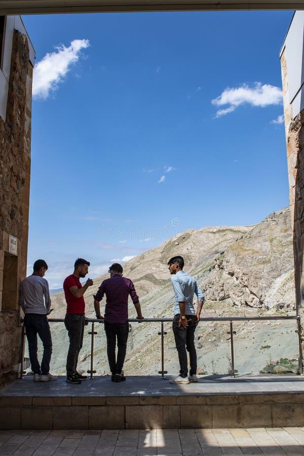 Dogubayazit, Turkey, Middle East, Ishak Pasha Palace, view, terrace, viewpoint, valley, landscape, mountain, rocks, Kurdistan. Dogubayazit, Turkey, Middle East stock photo
