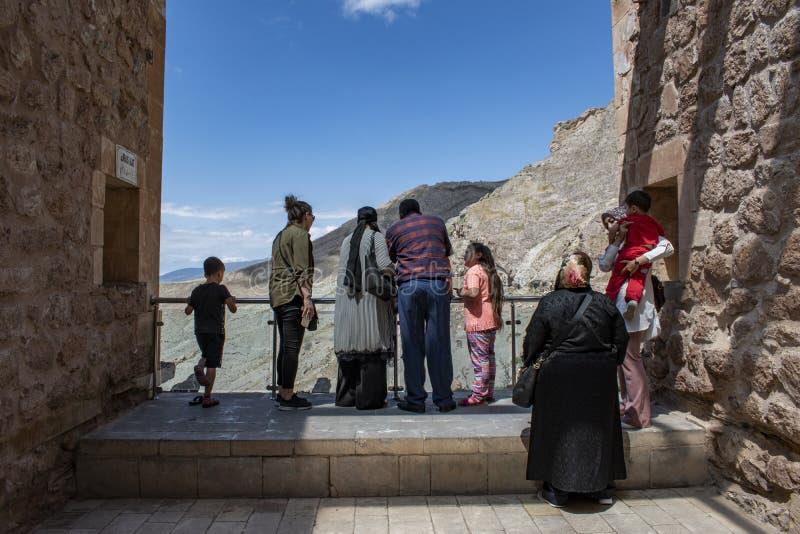 Dogubayazit, Turkey, Middle East, Ishak Pasha Palace, view, terrace, viewpoint, valley, landscape, mountain, rocks, Kurdistan. Dogubayazit, Turkey, Middle East royalty free stock photo