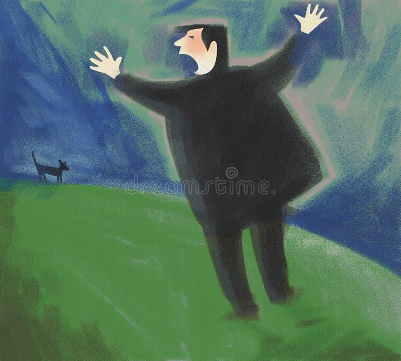 Dogwalker dzwonić ilustracji