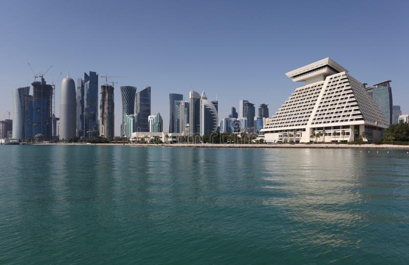 Doha śródmieścia linia horyzontu obrazy stock