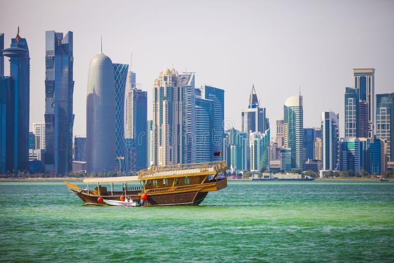 Doha, baía ocidental imagens de stock