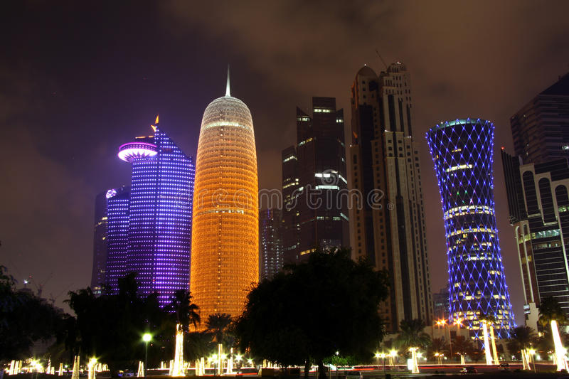 Doha business district at night