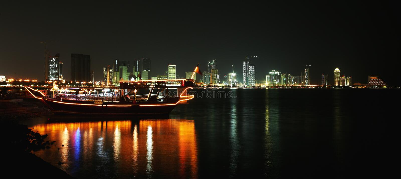 Doha corniche at night stock photo