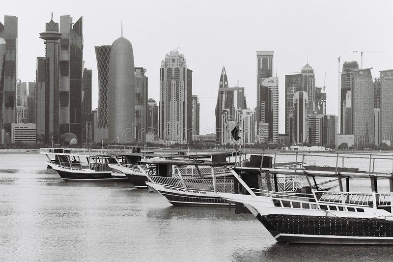 Doha dhow lineup in black and whiter stock photography