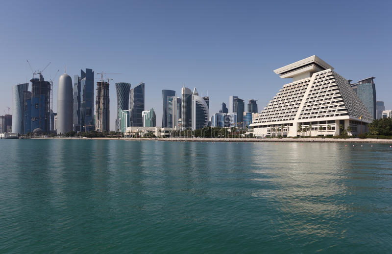 Download Doha downtown skyline stock photo. Image of east, middle - 28292574