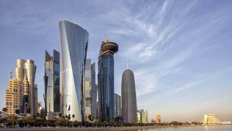Doha góruje przy zmierzchem zdjęcia royalty free