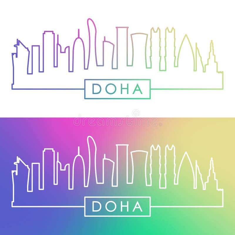 Doha horisont Färgrik linjär stil royaltyfri illustrationer