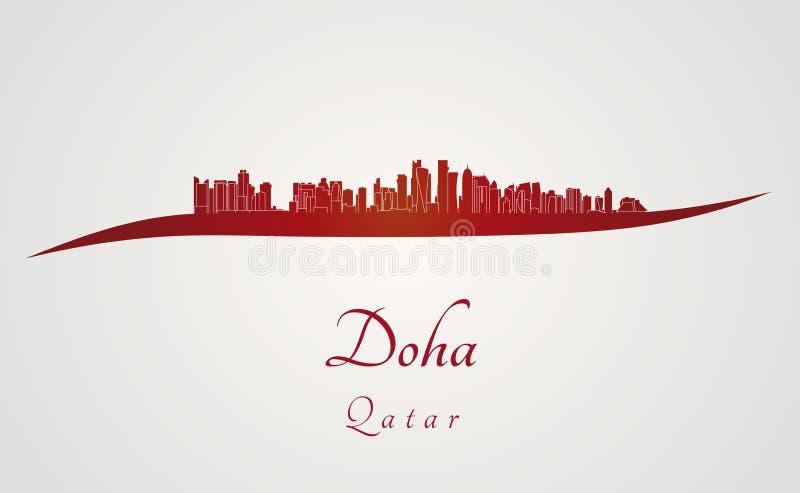 Doha horisont i rött vektor illustrationer