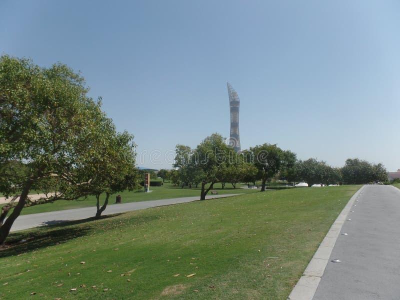 Doha, Katar, Kwiecień/- 12 2019: Pochodnia i Aspiruje parka fotografia royalty free