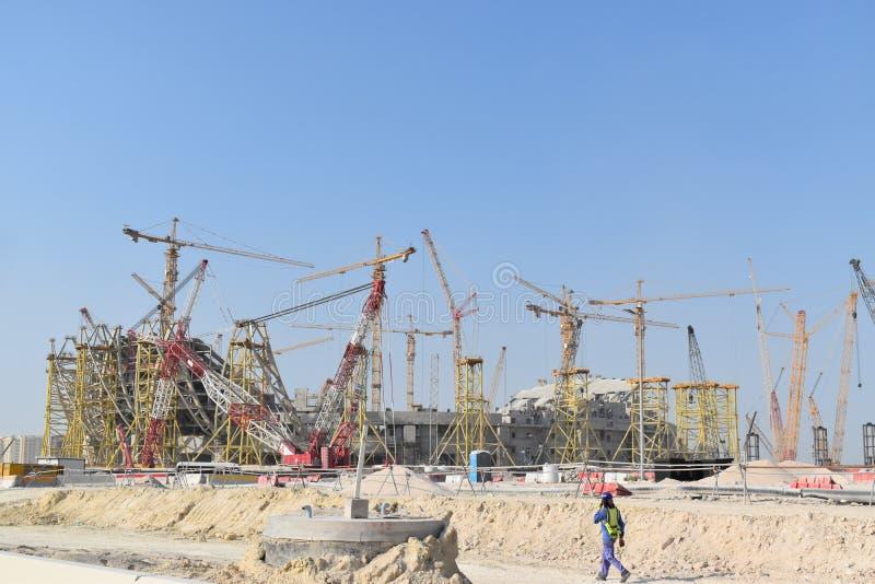 Doha, Katar, zukünftiges Stadion im Bau für Katar-Fußball-Weltcup 2022 lizenzfreie stockbilder