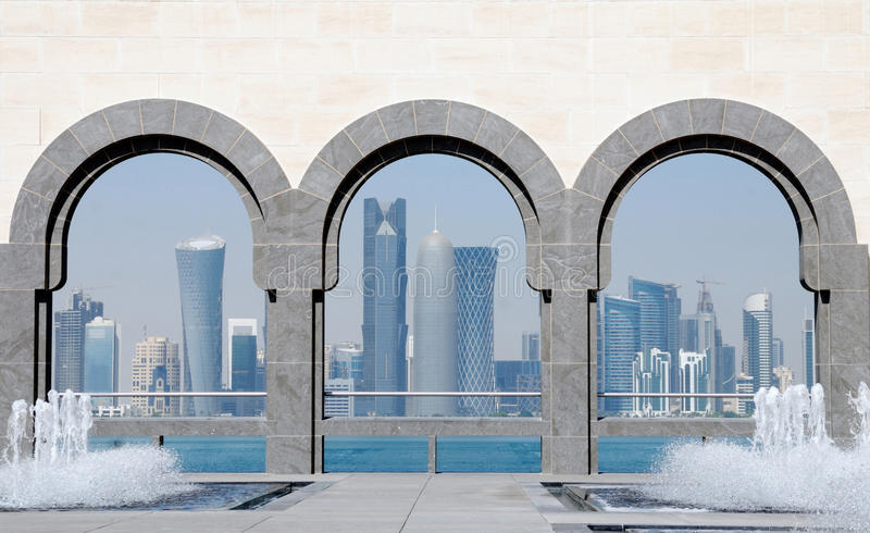 doha linia horyzontu Qatar obraz stock