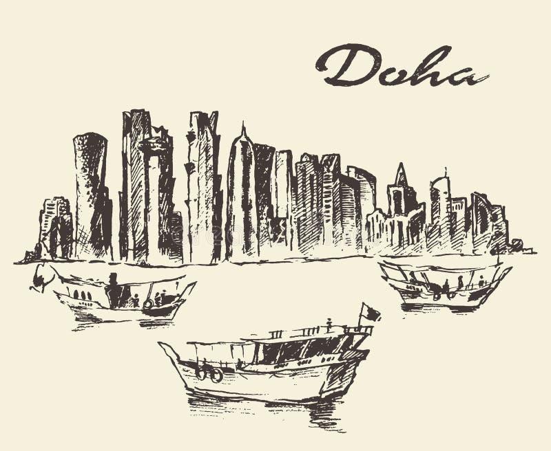 Doha linii horyzontu Dhow Katarska ilustracja rysujący nakreślenie ilustracji