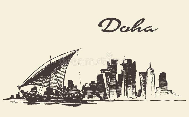 Doha linii horyzontu Dhow Katarska wektorowa ręka rysujący nakreślenie ilustracji
