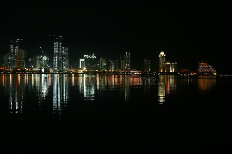 Doha at night royalty free stock image