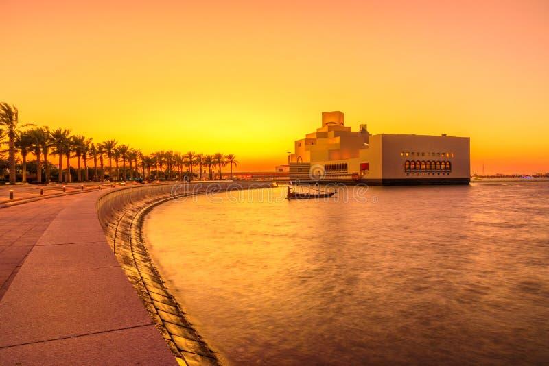 Doha-Park bei Sonnenuntergang lizenzfreie stockfotos