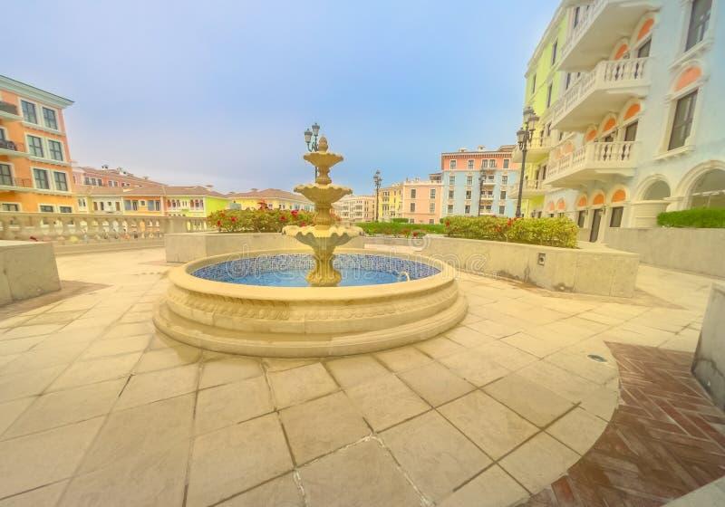 Doha Qanat Quartier springbrunn arkivbild