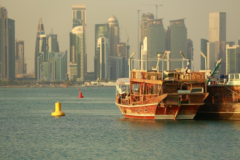 Doha Qatar Doha Al Corniche arkivbild