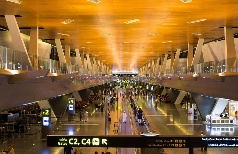 DOHA, QATAR - APRIL 22, 2017: Hamad international airport with p stock photography