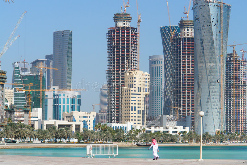 Doha - Qatar - cityscape stock afbeeldingen