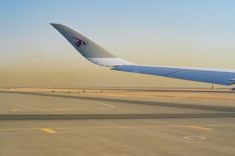 DOHA, QATAR -04 en août 2018 - des avions de Qatar Airways QR sont alignés au DO de Hamad International Airport dans Doha photographie stock