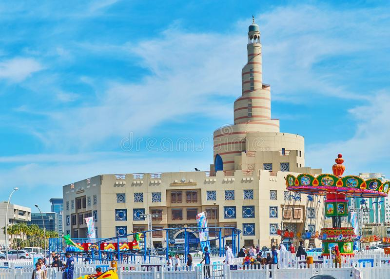 Attractions for kids, Doha, Qatar. DOHA, QATAR - FEBRUARY 13, 2018: Amusement park in old town is perfect place for kids, offering many different attractions and royalty free stock photo
