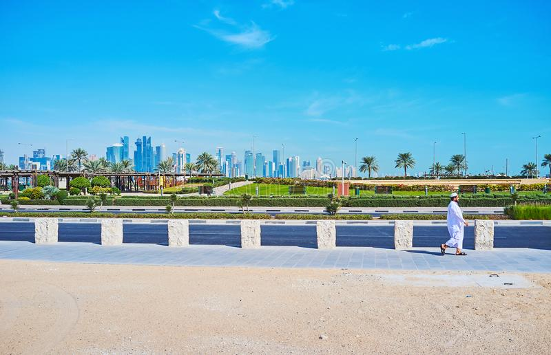 Visit parks of Doha, Qatar. DOHA, QATAR - FEBRUARY 13, 2018: Beautiful green Souq Waqif park is popular place among the locals and tourists, coming here to relax royalty free stock photo