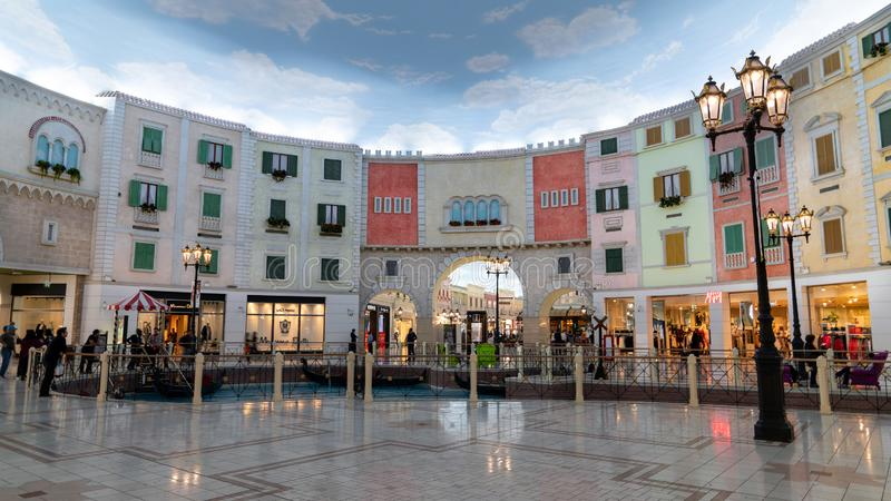 Interior scene from Villaggio shopping mall in Doha with many stores and shops, Qatar royalty free stock photo
