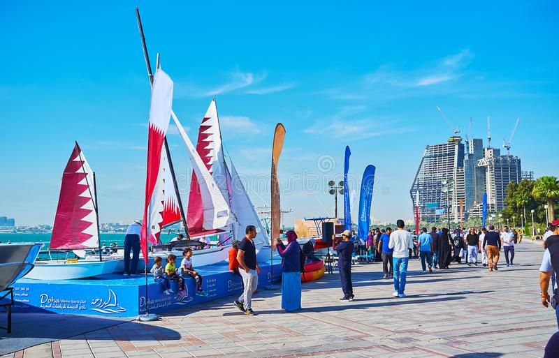 Maritime fair in Doha, Qatar. DOHA, QATAR - FEBRUARY 13, 2018: The Maritime fair in West Bay neighborhood has been held within the framework of the Day of Sport stock photography