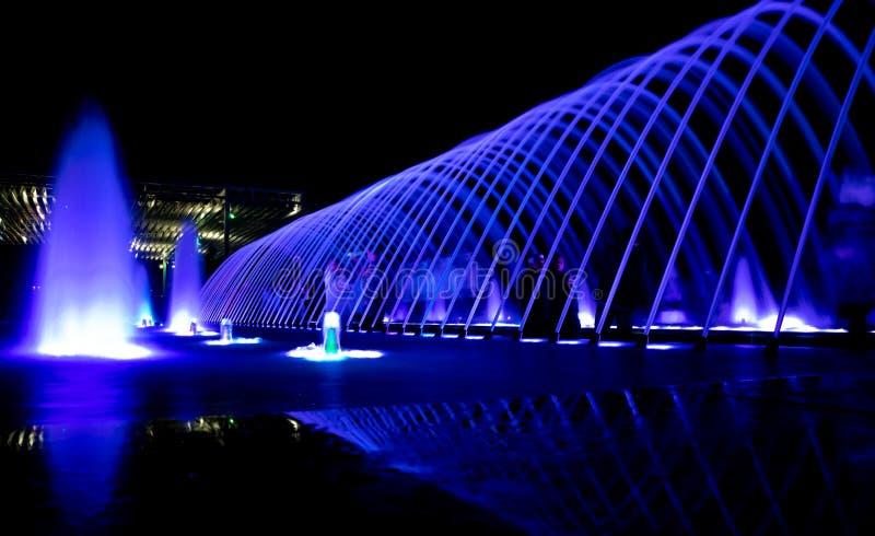 Doha,Qatar- 01 January 2019 : Background image of water dance with people enjoying it royalty free stock image