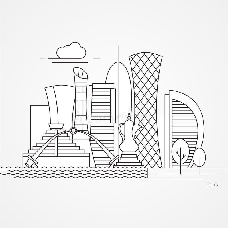Doha qatariska gränsmärken i eyelinerstilvektor royaltyfri illustrationer