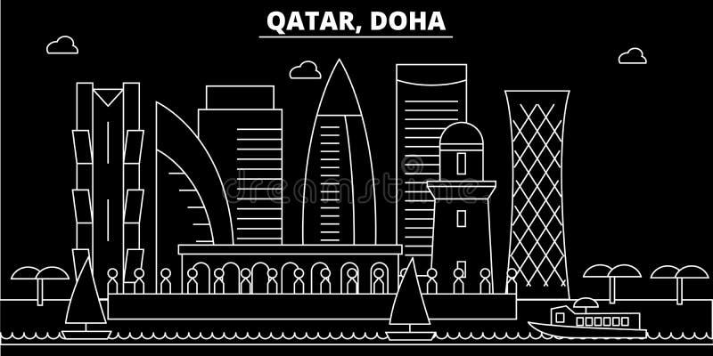 Doha-Schattenbildskyline Katar- - Doha-Vektorstadt, qatari lineare Architektur, Gebäude Doha-Reiseillustration vektor abbildung