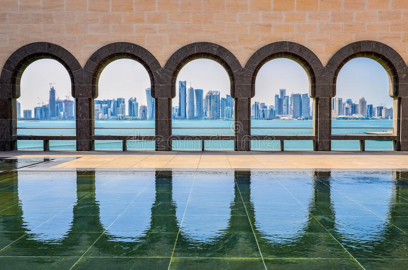 Doha skyline through the arches of the Museum of Islamic art, Do royalty free stock image