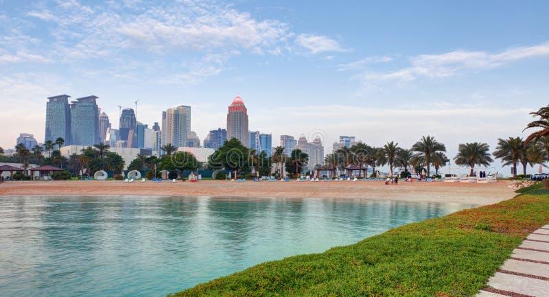 Doha skyline at day, Qatar royalty free stock photos