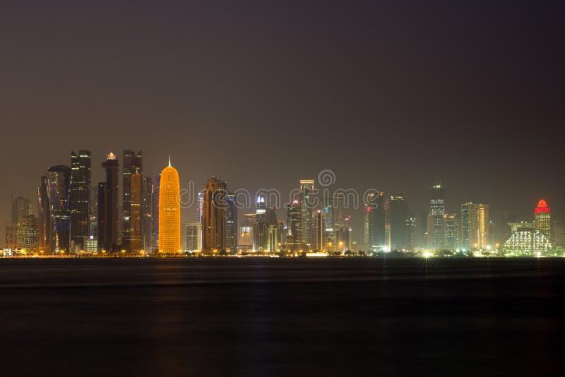 Doha Skyline at Night royalty free stock photo