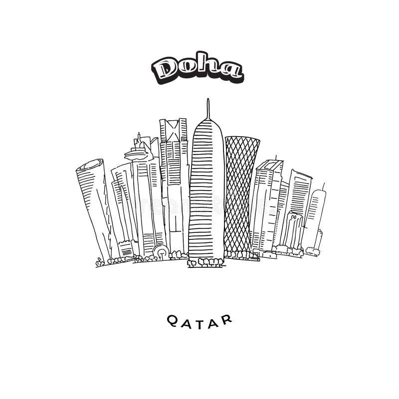 Doha står högt horisont royaltyfri illustrationer