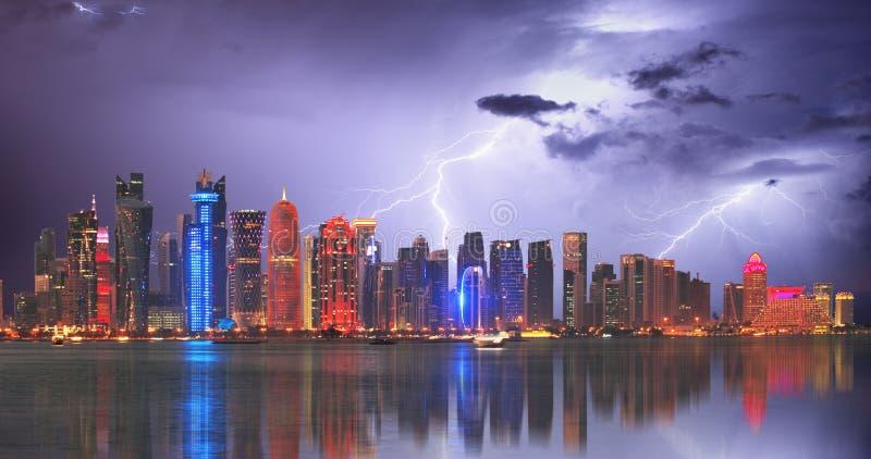 Doha at storm with lightning bolt, Qatar.  royalty free stock photo
