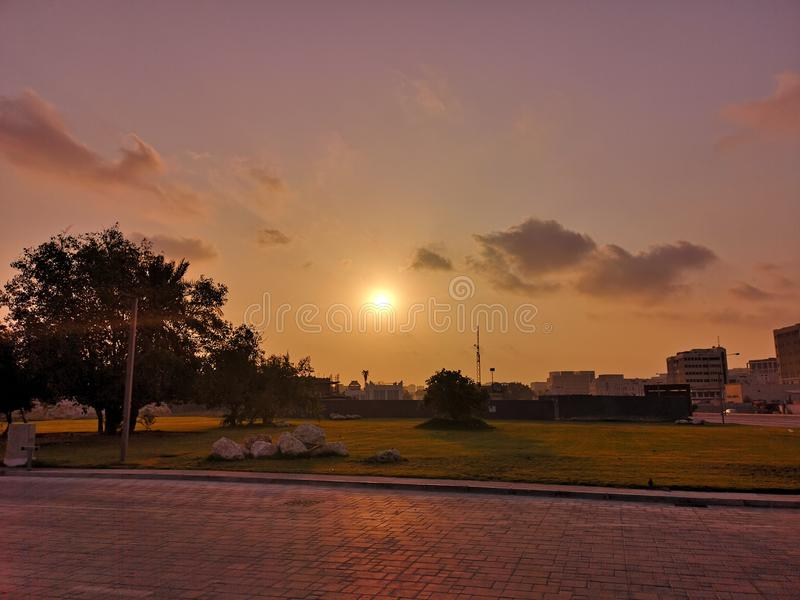 Doha sunrise. As seen from Al Bidda Park stock photo