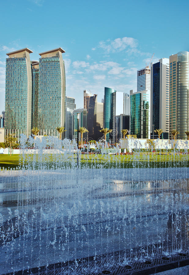 Doha towers and fountain vertical royalty free stock images