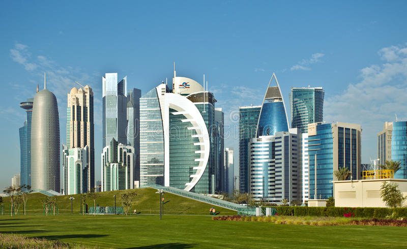 Download Doha towers and park editorial photography. Image of emirate - 89930652