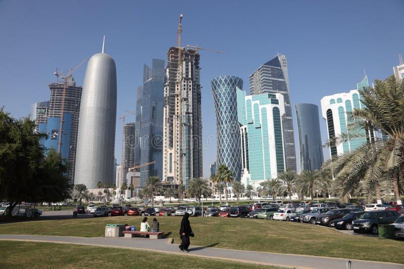 Doha w centrum okręg, Al Dafna fotografia stock