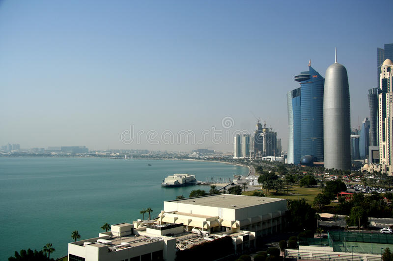 Download Doha West Bay editorial photography. Image of water, architecture - 37662107