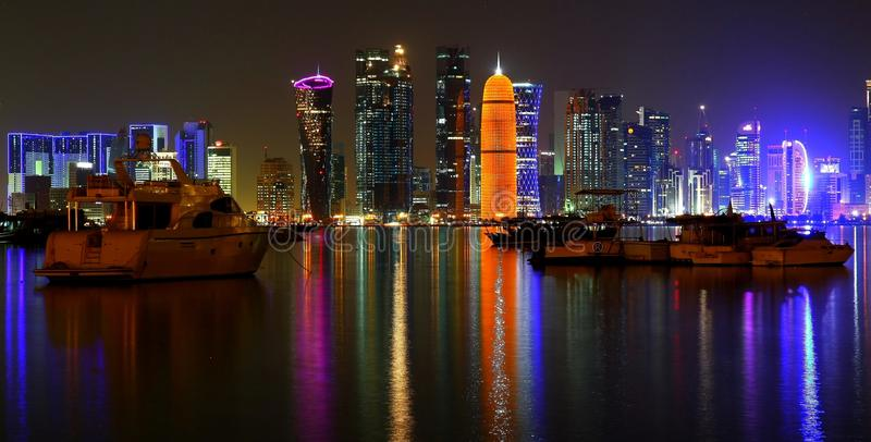 Doha West Bay skyline. The Doha West bay skyline as seen from across the bay stock image