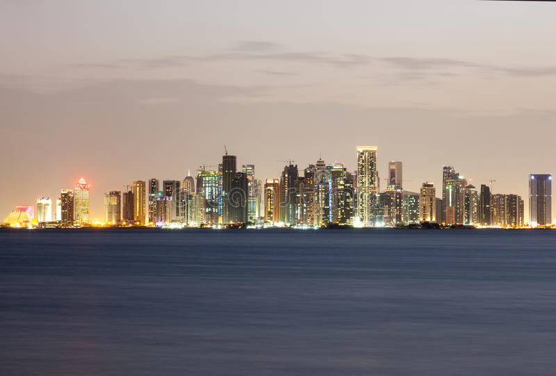 Doha West Bay Skyline at night. Qatar, Middle East stock image